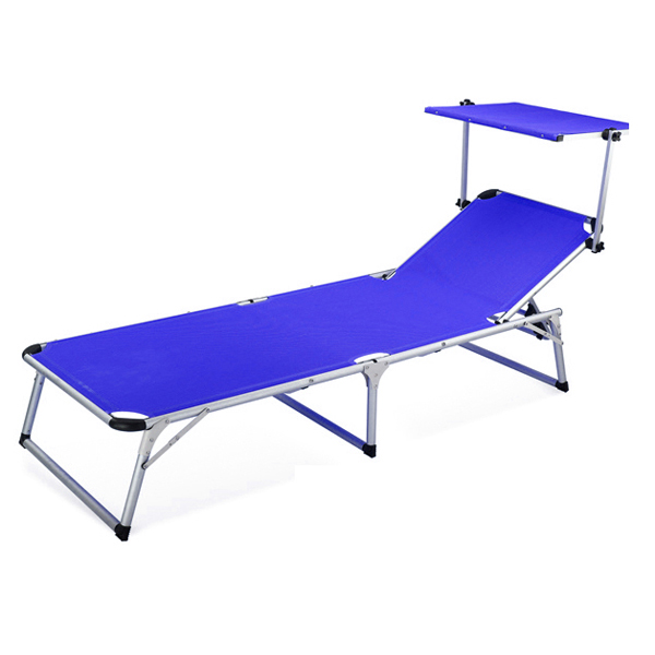 Aluminum beach sun lounger with shade