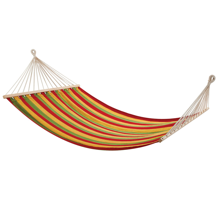 Double hammock with wooden rails